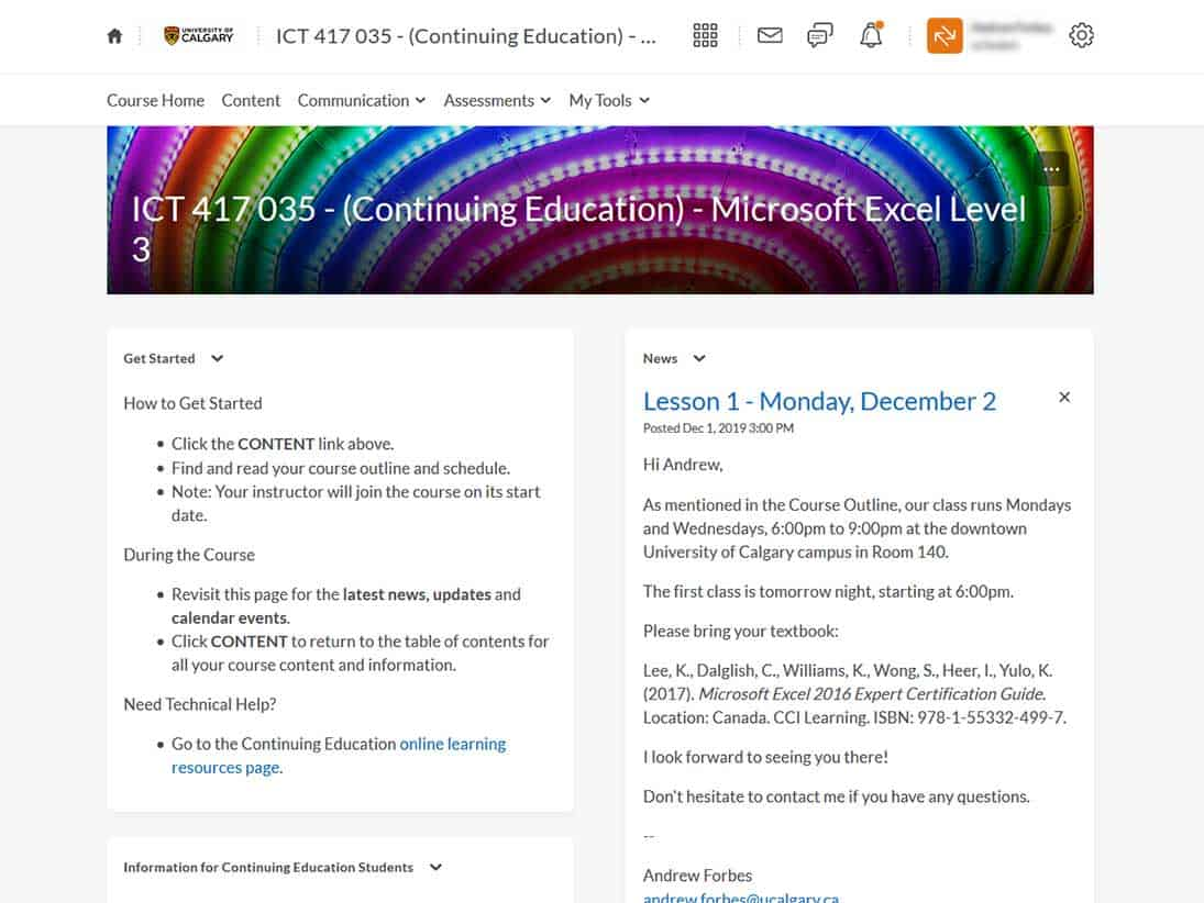 ICT417 MS Excel Level 3 - University of Calgary Continuing Education Course