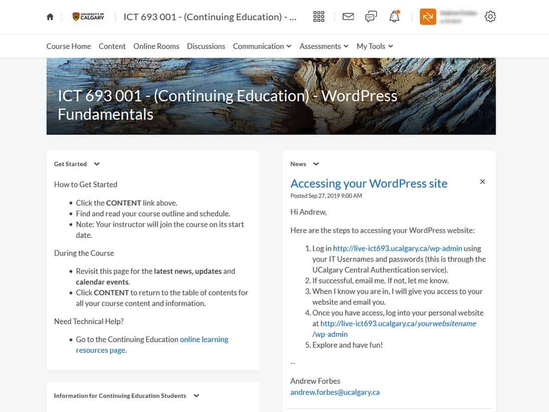 ICT693 WordPress Fundamentals University of Calgary Continuing Education Course