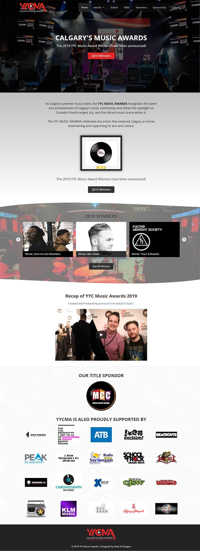 2019 YYC Music Awards Screenshot - After the update