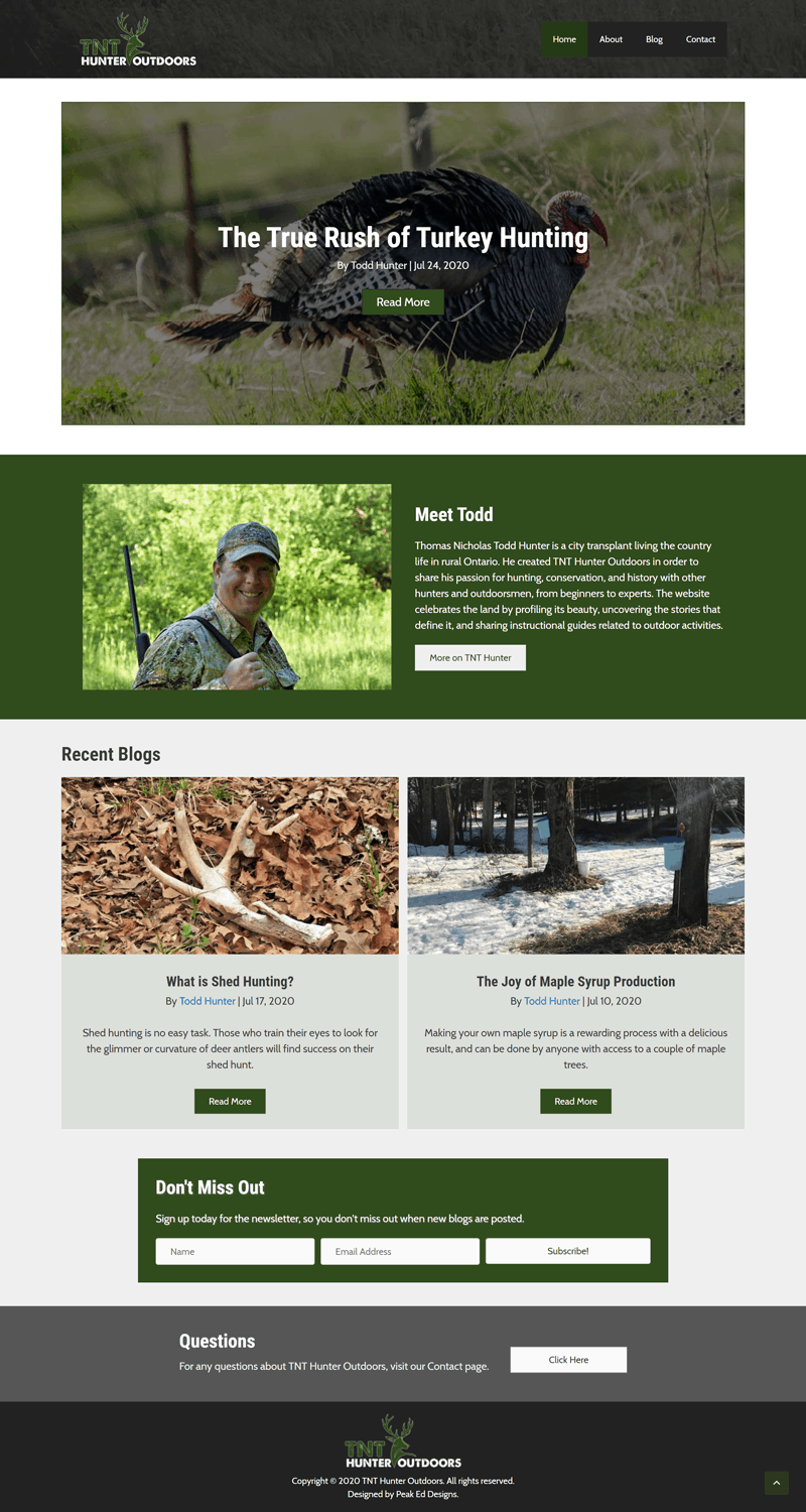 TNT Hunter Outdoors Home page | Peak Ed Designs