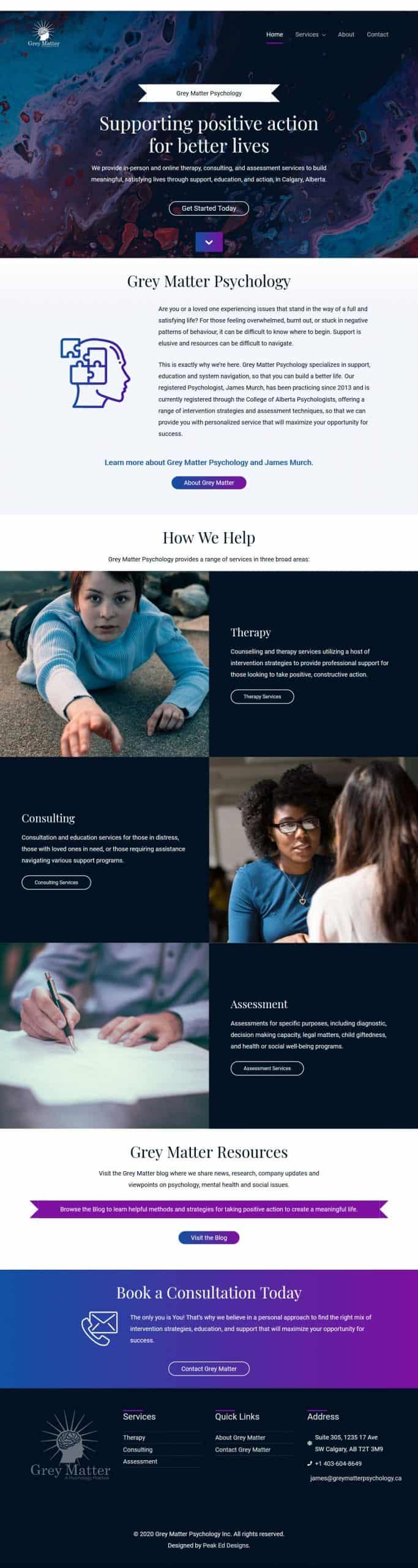 Grey Matter Psychology.ca Home page | Peak Ed Designs
